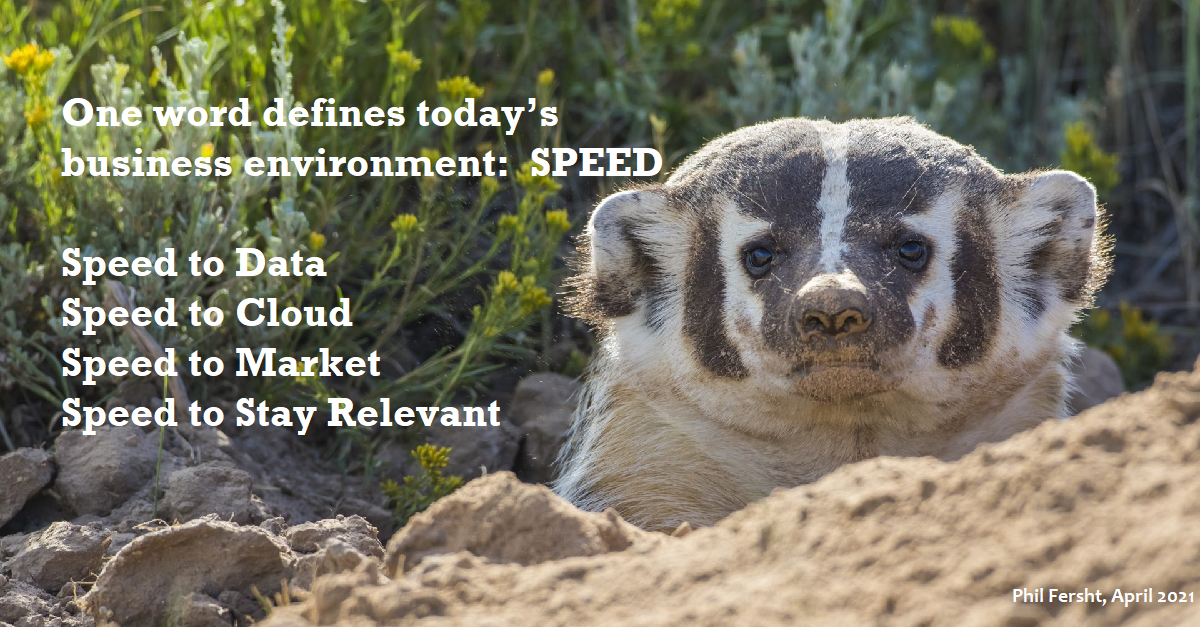 One word defines today's business environment:  Speed