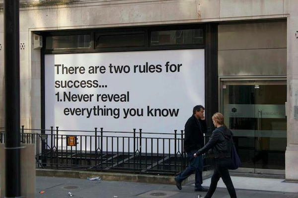 There are two rules for success... here's one of them