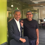 Two CEOs clearly up to no good... Genpact's Tiger Tyagarajan (left) and Infosys' Vishal Sikka (right)